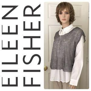 Eileen Fisher Moon Precious Metal Mesh V Neck Top